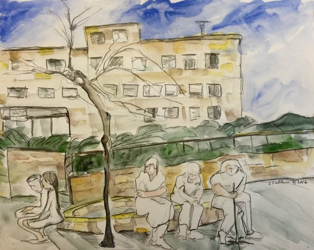Watercolor of People Outside Yad Vashem