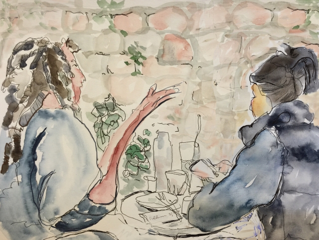 Sketch of two women on a restaurant patio