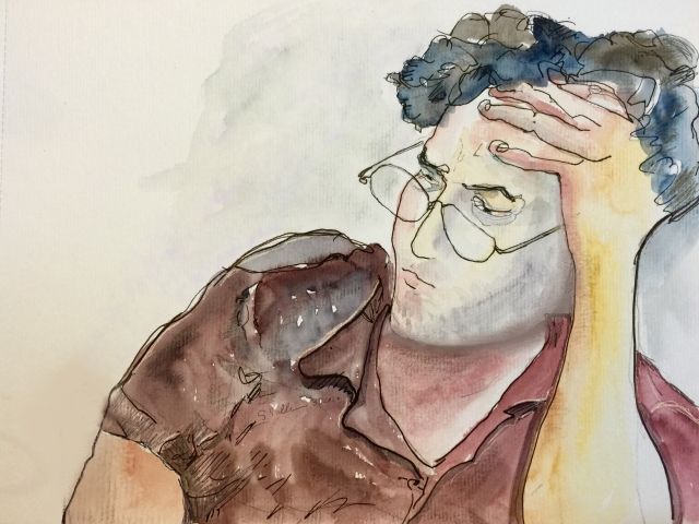 Sketch of a sleepy man by Sarah Sullivan
