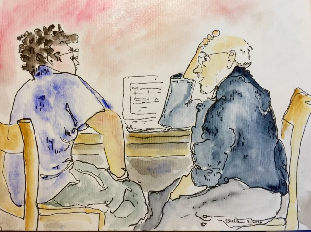 Sketch of 2 men thinking by Sarah Sullivan