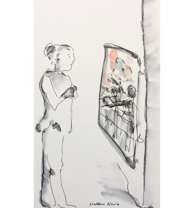 Sketch of girl at a museum by Sarah Sullivan