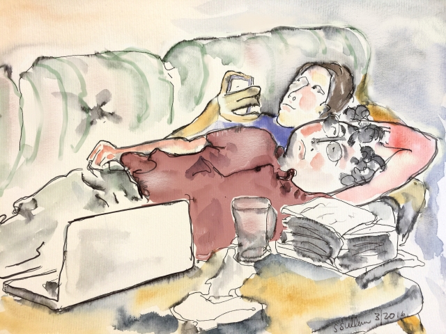 Sketch of 2 people resting on a couch by Sarah Sullivan