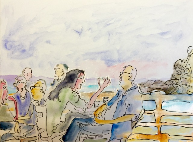 Sketch of People at a cafe in Caesarea