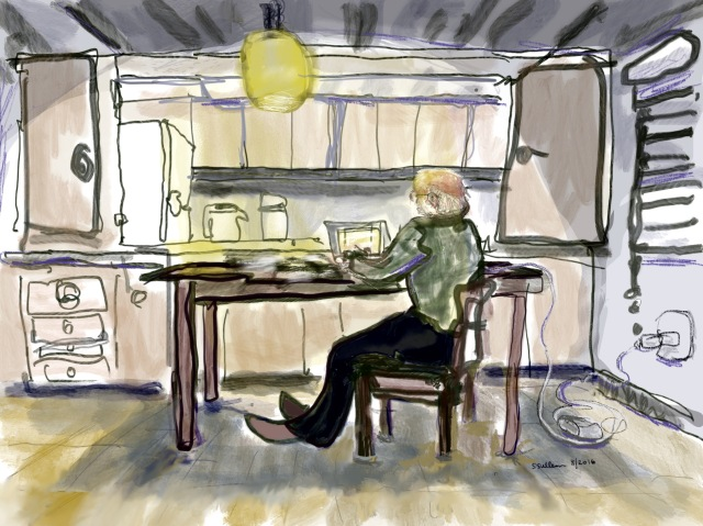 Sketch of a man working at the kitchen table