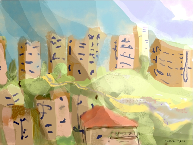 Sketch of city buildings