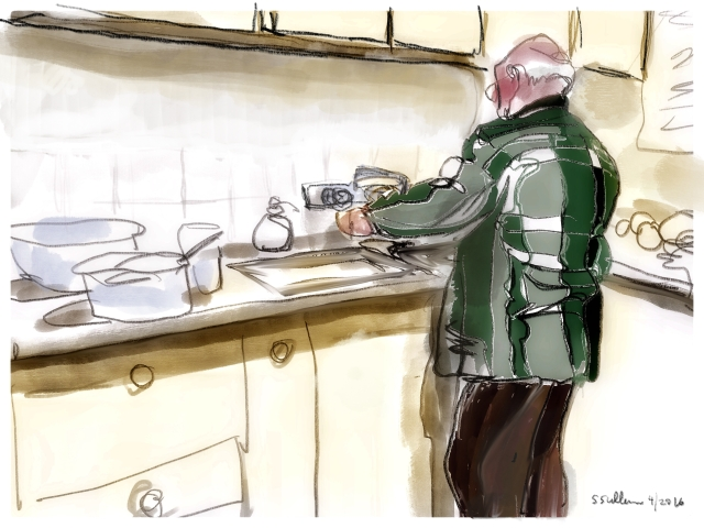 Man in Plaid Does the Dishes