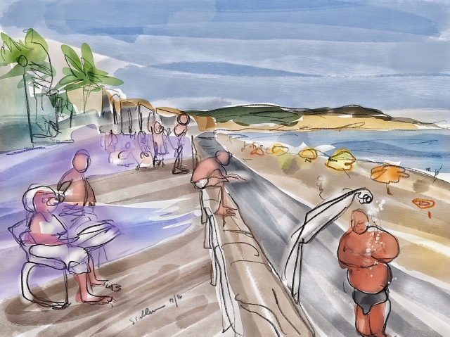 Sketch of people at a beach by Sarah Sullivan