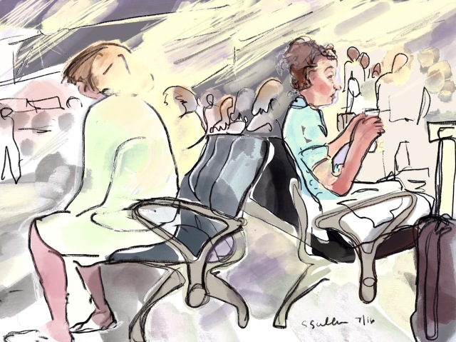 Sketch of  people waiting at the airport in Nice France by Sarah Sullivan