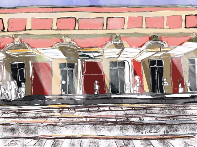 Sketch of the Toulon Train Station by Sarah Sullivan