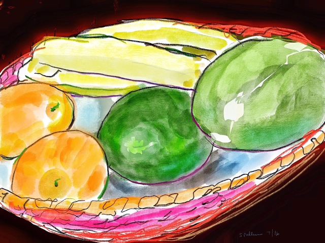 Sketch of a basket of fruit by Sarah Sullivan