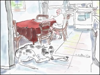 Dog Waits While Man Reads Paper