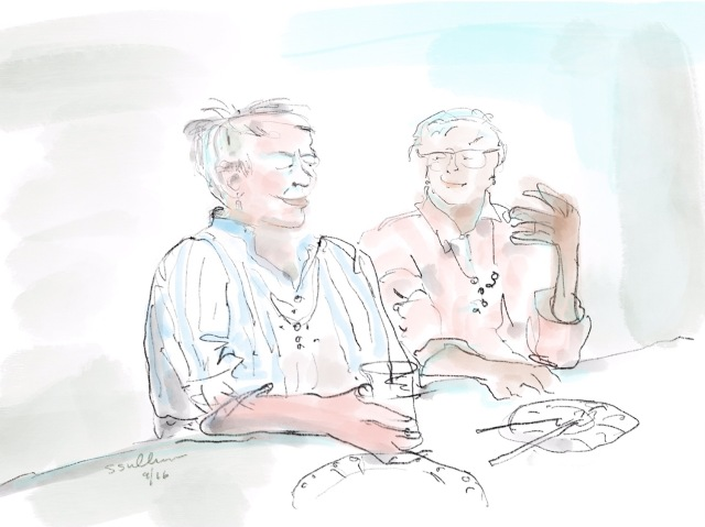 Sketch of  two women talking over a meal by Sarah Sullivan