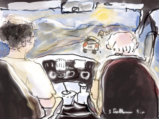 Sketch of  people driving by Sarah Sullivan