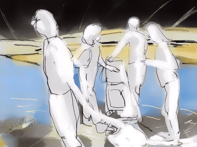 Sketch of people at a LAX Baggage Area