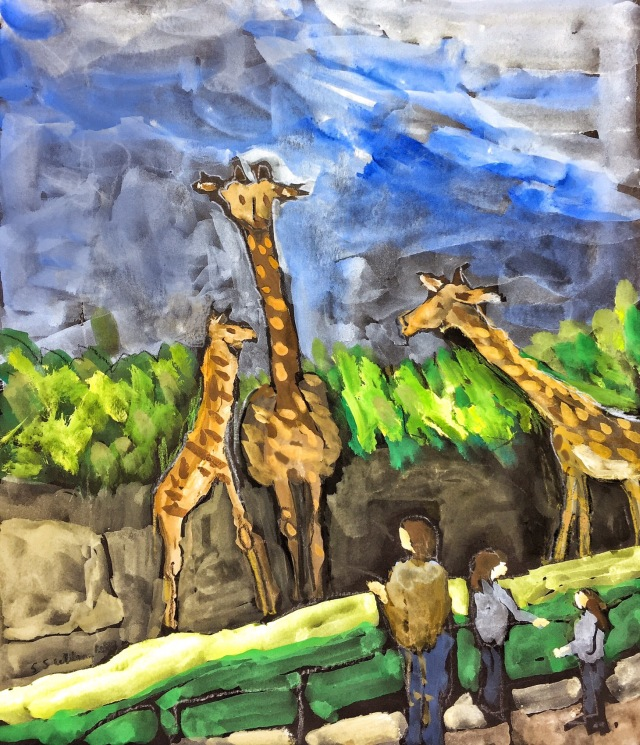Three Giraffes and Three People