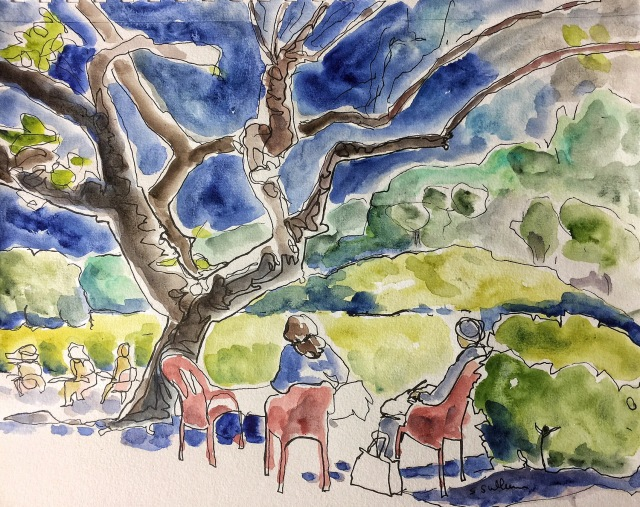 Sketching the Urban Sketchers at the Farm Stand