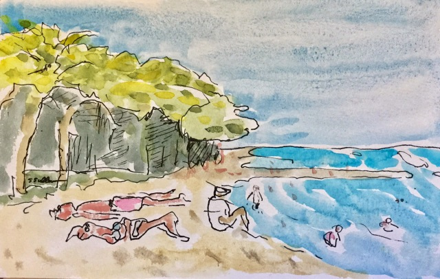 Sketch of Morning at Kapi'olani Beach by Sarah Sullivan