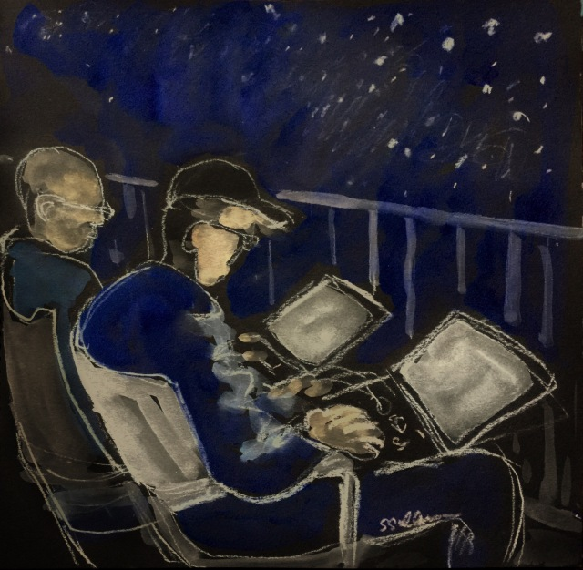 Sketch of two men with their computers at night by Sarah Sullivan