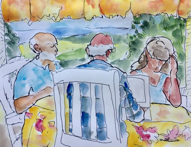 Sketch of people eating breakfast in Kauai by Sarah Sullivan