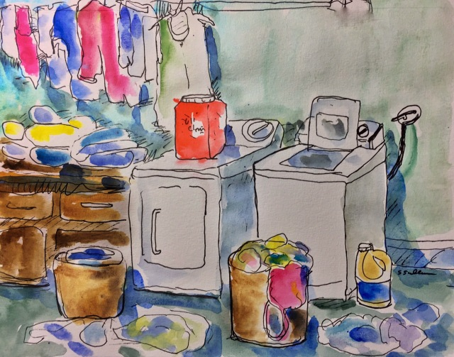 Sketch of a laundry area by Sarah Sullivan