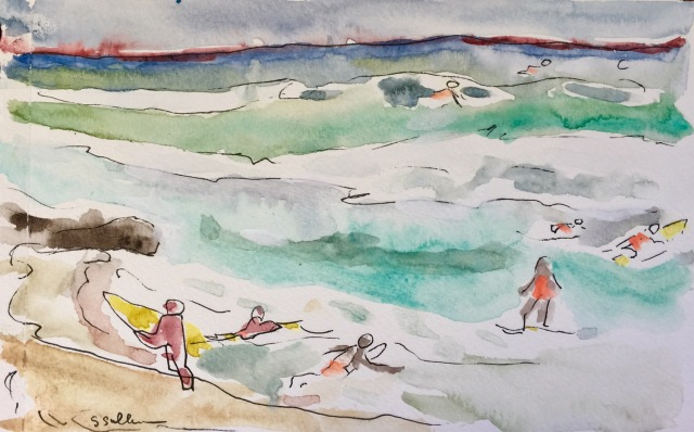 Sketch of people Surfing on the North Shore of Oahu by Sarah Sullivan