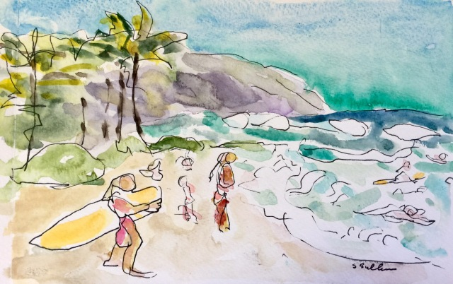 Sketch of a beach Along the North Shore of Oahu by Sarah Sullivan