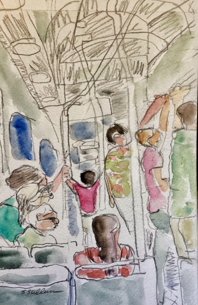 Sketch of people on a bus by Sarah Sullivan