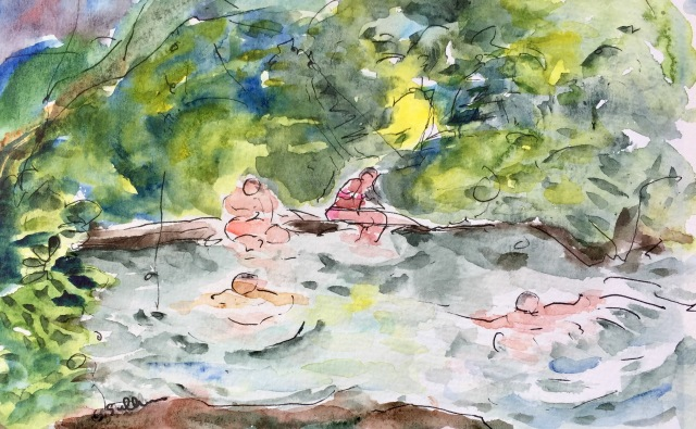 Sketch of Swimmers at Stone Dam by Sarah Sullivan