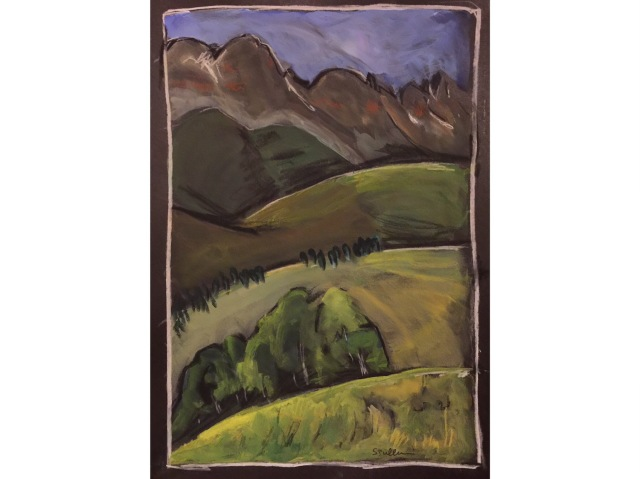 Sketch of Telluride Mountains and Meadows by Sarah Sullivan
