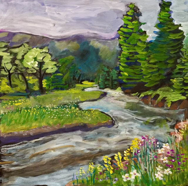 Sketch of the San Miguel River by Sarah Sullivan