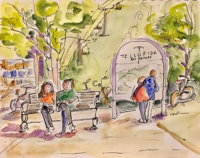 Sketch of Telluride's Oak Street Plaza in July by Sarah Sullivan