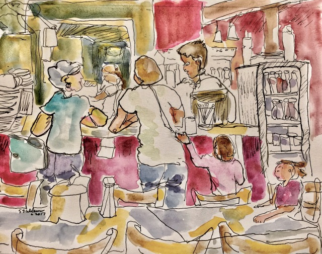 Sketch of people ordering food at a counter by Sarah Sullivan