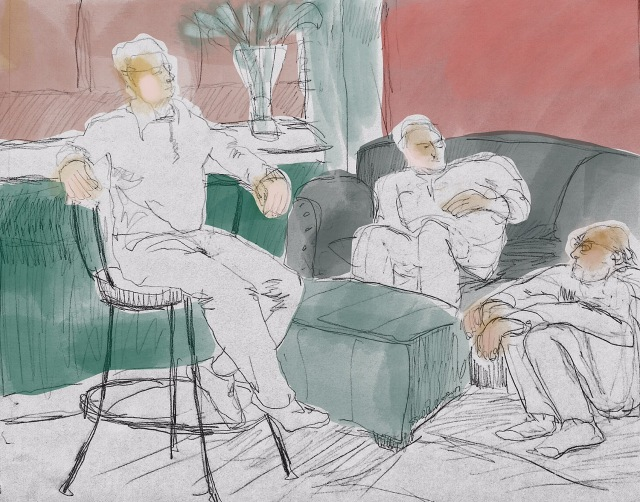 Sketch of 3 academics as they review the workshop they just led by Sarah Sullivan