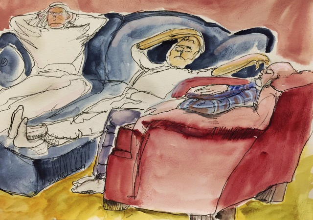 Sketch of three men napping by Sarah Sullivan