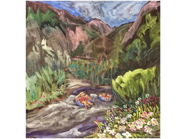 Sketch of children Rafting the Mighty San Miguel by Sarah Sullivan