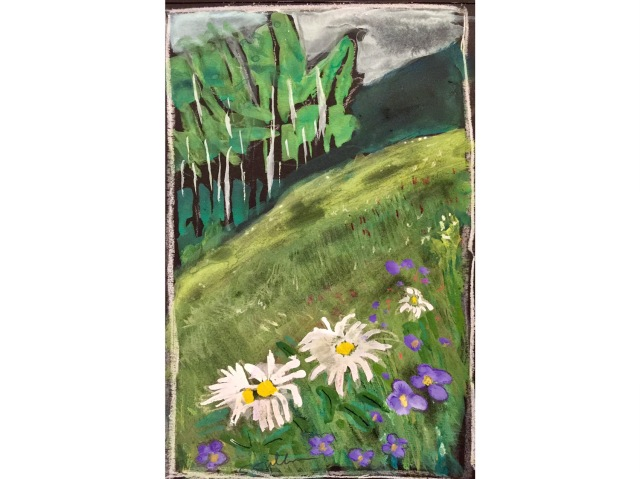 Sketch of a green meadow with flowers and aspen trees by Sarah Sullivan
