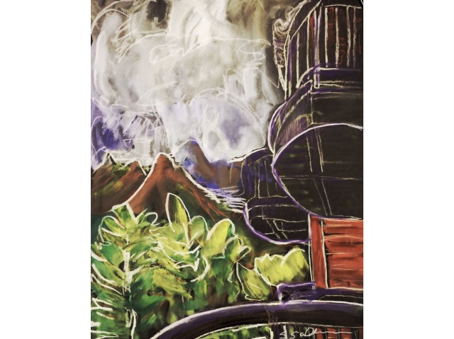 Sketch of the view from a balcony of more balconies and storm clouds by Sarah Sullivan