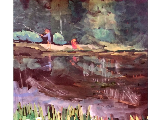 In the distance, a fisherman and a reader enjoy Elk Pond: a sketch by Sarah Sullivan