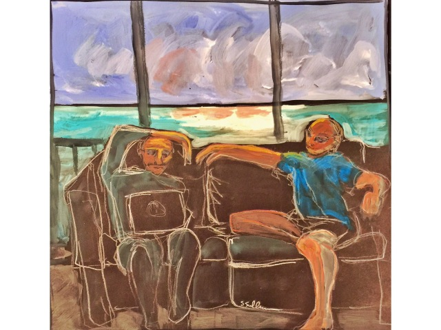 Sketch of two men sitting on a couch overlooking the sea by Sarah Sullivan