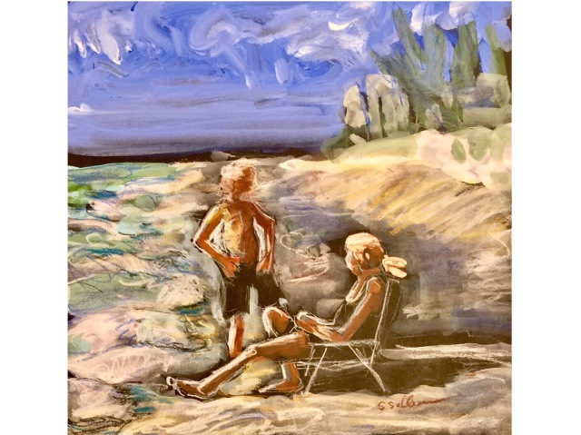 Sketch of two people talking by the edge of the beach by Sarah Sullivan