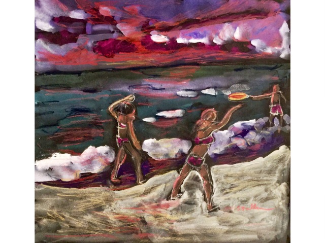 Sketch of three people playing Beach Frisbee at Sunset by Sarah Sullivan