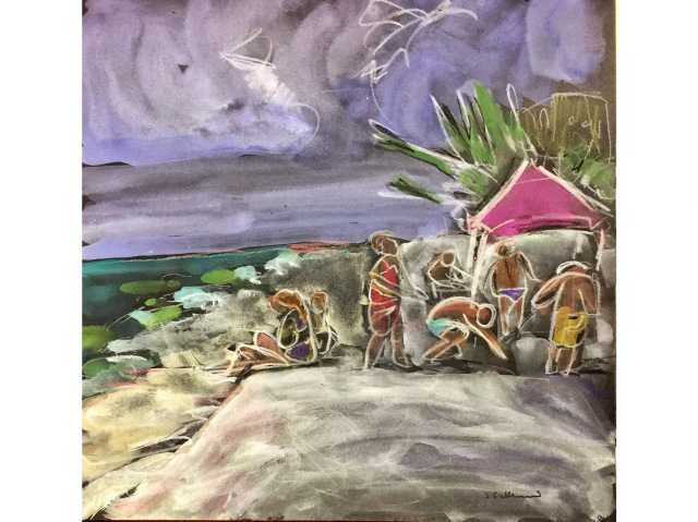 Sketch of a group setting up a sun shade by Sarah Sullivan