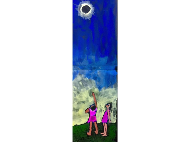 Sketch of two friends watching the Eclipse together by Sarah Sullivan