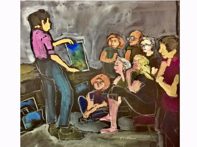 Sketch of an art teacher and her students by Sarah Sullivan
