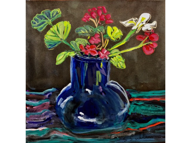 Sketch of Geraniums in a Blue Vase on a Scarf by Sarah Sullivan
