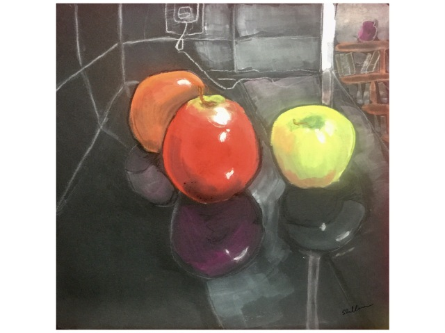 Gouache sketch of fruit and its reflections on a kitchen counter by Sarah Sullivan