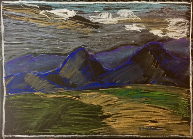 Sketch of mountains and desert near Dateland Arizona by Sarah Sullivan