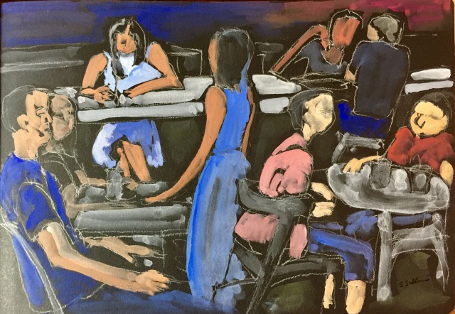 Sketch of people eating at the North County Mall by Sarah Sullivan