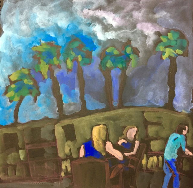 Sketch by Sarah Sullivan of three people Taking in the View