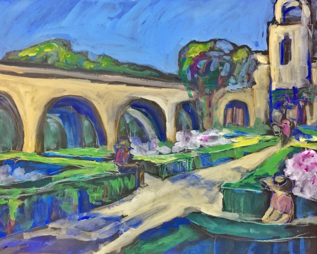 Sketch by Sarah Sullivan of Alcazar Garden